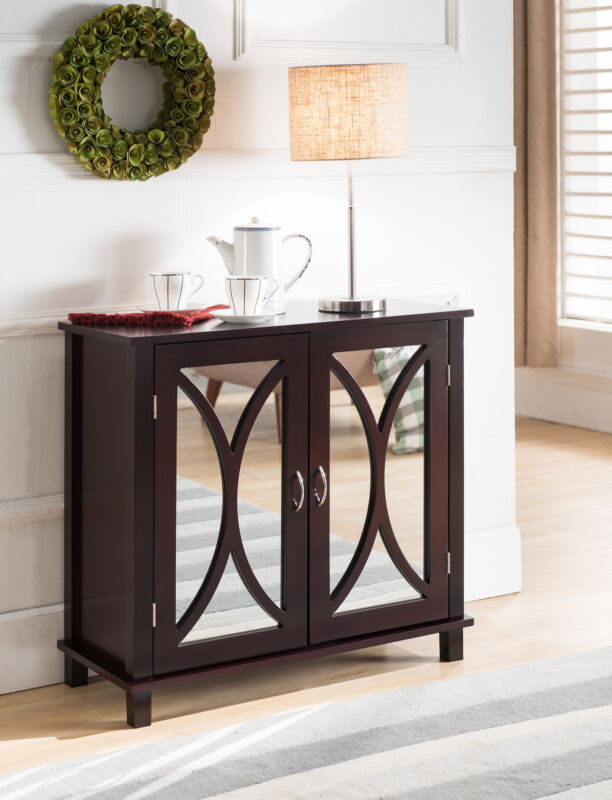 Wood Entryway Console Sofa Side Table Mirrored Doors