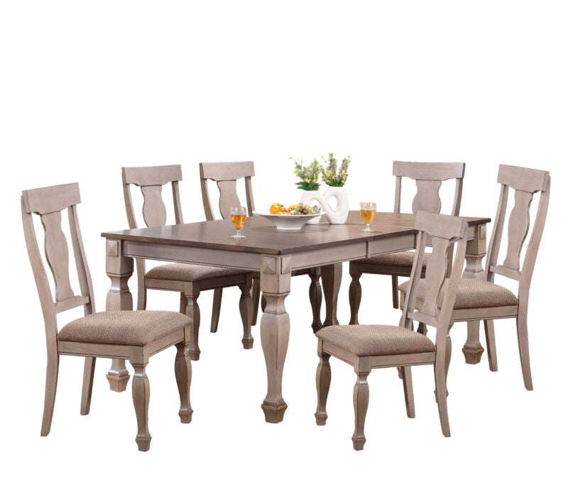 2-Tone Brown Wood 7-Piece Dining Room Set, Table & 6 Chairs