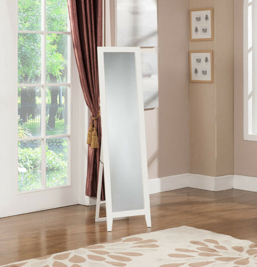 White Finish Wood Frame Floor Standing Mirror