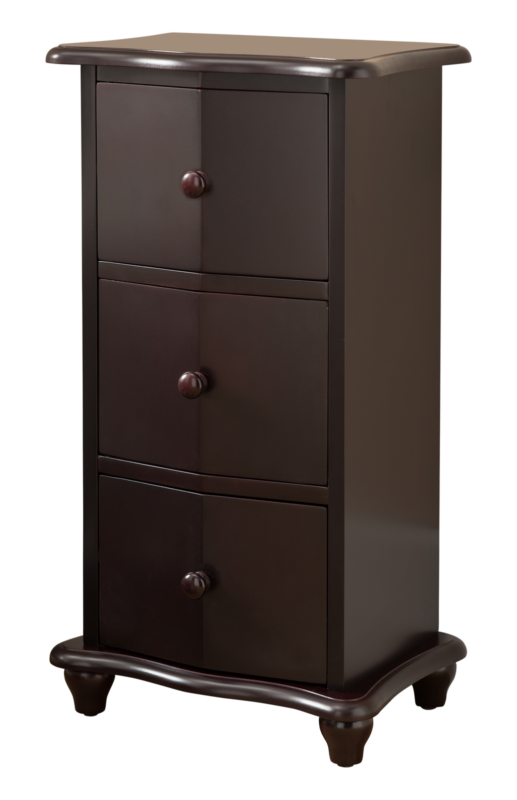 Dark Cherry Finish Wood 3 Drawer Accent Cabinet Chest