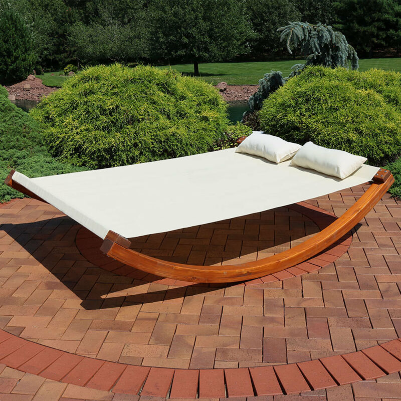 Natural Colored Outdoor Backyard Wooden Double Lounger Bed