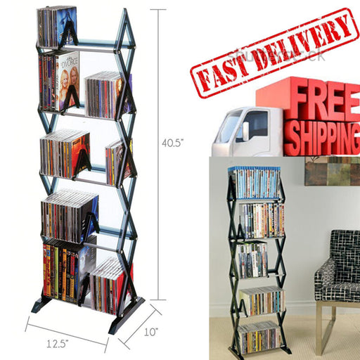 5 Tier Games Media Rack Tower Shelves Holder Storage