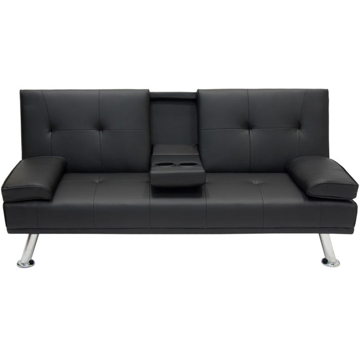 Faux Leather Convertible Futon w/ 2 Cup Holders