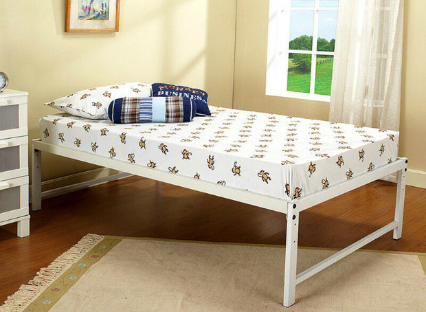White Metal Twin Size Platform Bed Frame Mattress Foundation