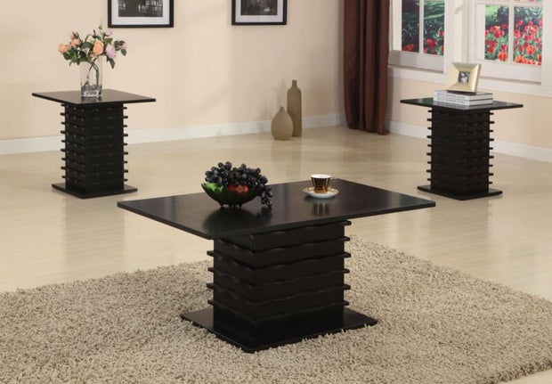 Set of 3 Black Wood Finish Wave Design Occasional Table,1 Coffee Table & 2 End Tables