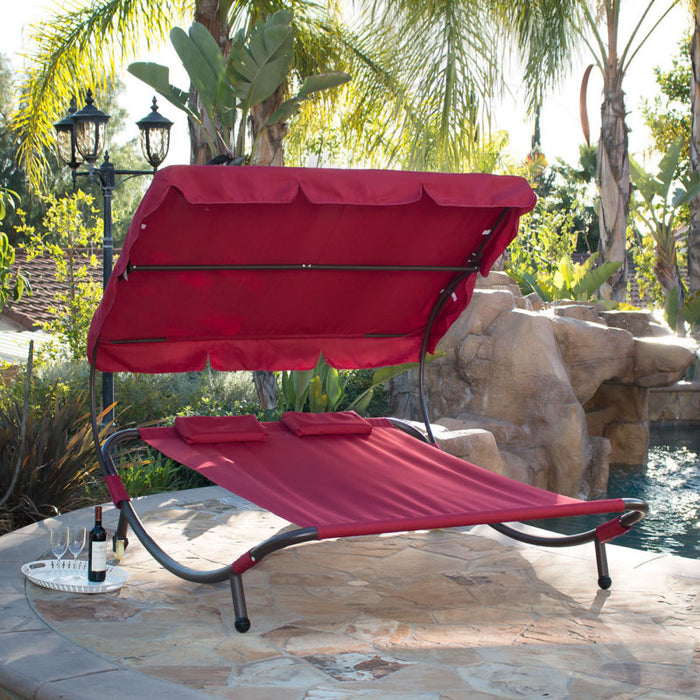 Double Wide Patio Pool Hammock Bed Lounger with Sun Shade Burgundy