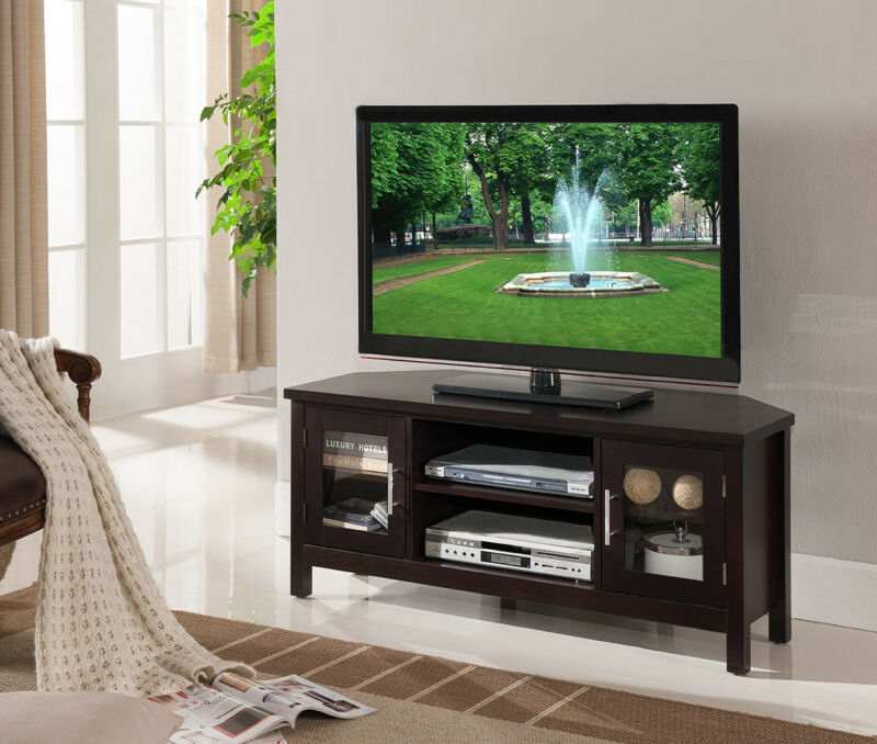 Espresso Finish WoodTV Stand Entertainment Center With Storage