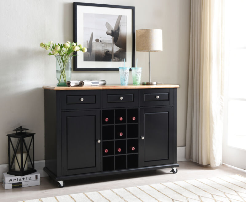 Wine Rack Sideboard Buffet Server Console Table With Storage