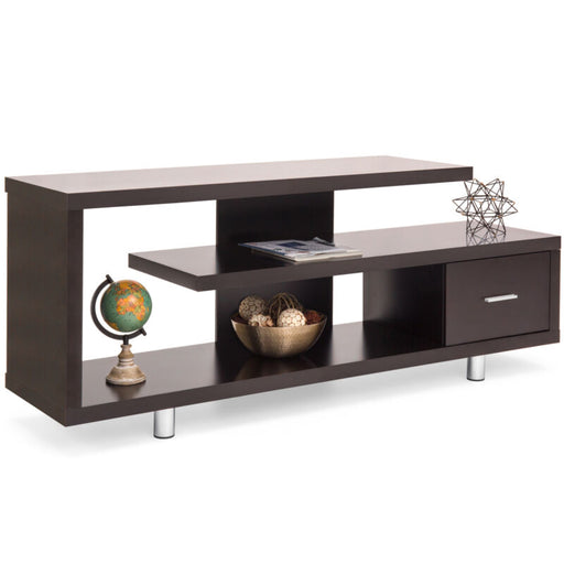 Media Console TV Stand w/ 3 Shelves w/ Drawer
