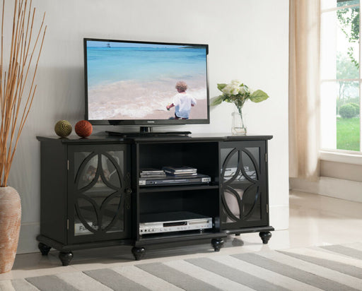 Black Finish Wood TV Stand Entertainment Center