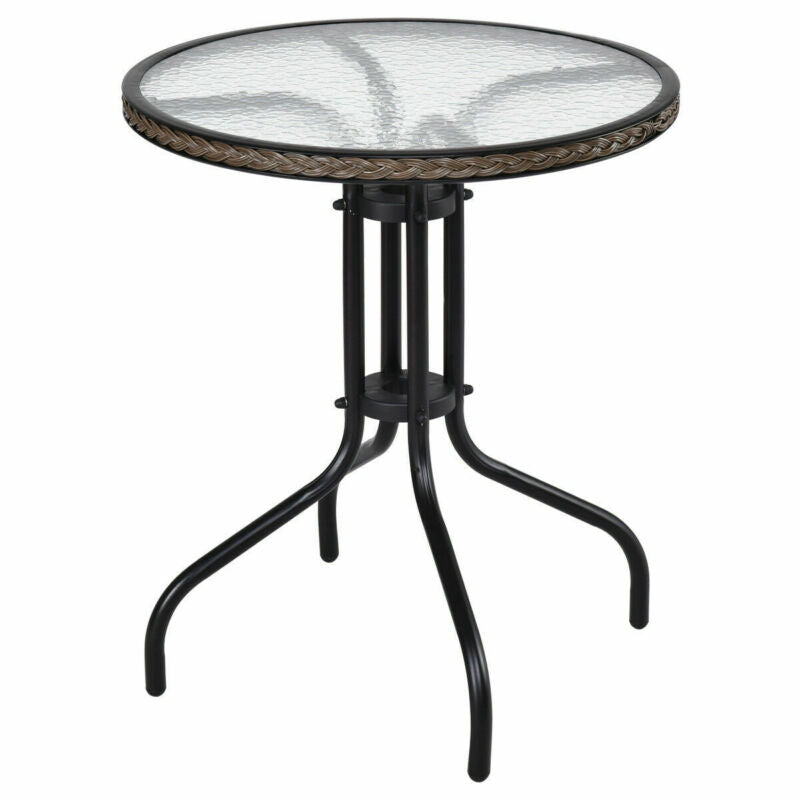 "24"" Patio Furniture Glass Top Patio Round Table Steel"