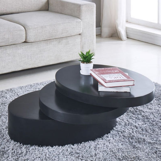 Round Black Coffee Table Rotating Contemporary 3 Layers