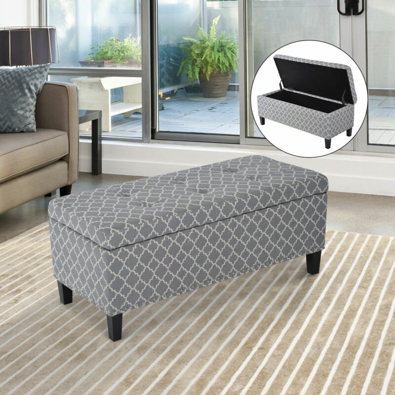 Storage Ottoman Padded Bench Seat Footstool Organizer w/Tufted Top