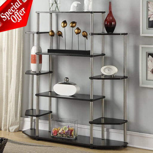 Wood Steel Display Storage Cabinet (Black)