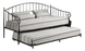 Matt Black Metal Twin Size Day Bed Frame With Metal Slats