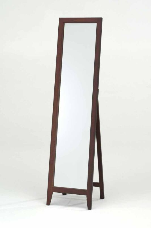 Walnut Finish Solid Wood Frame Floor Mirror
