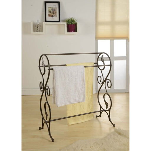 Antique Style Pewter Finish Metal Free Standing Towel Rack Stand