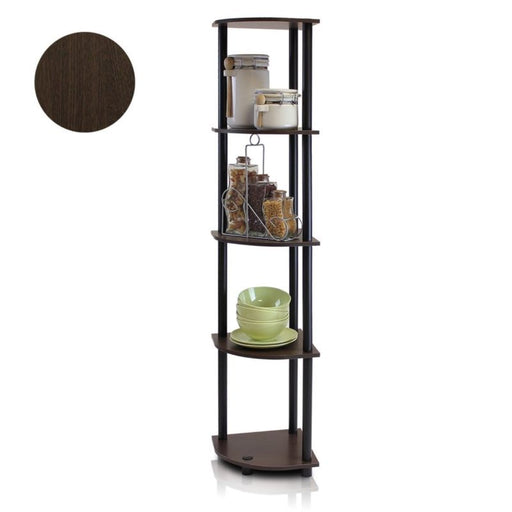 5 Tier Corner Shelf Home Bookcase Rack Wall