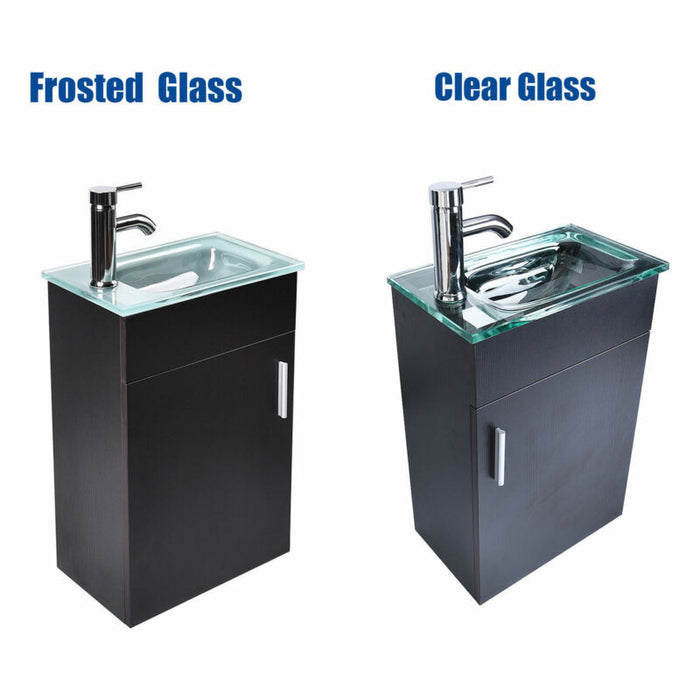16''/24''/28'' Wall Mounted Cabinet Vessel Glass Sink Faucet Set
