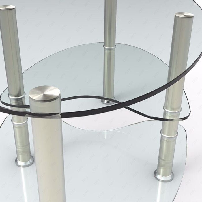 Modern Glass Oval Side Coffee Table Shelf Chrome Base