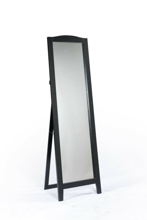 Black Finish Wood Rectangle Floor Standing Mirror