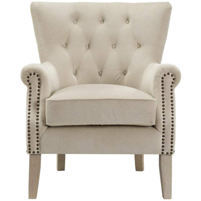 Beige Traditional Rolled Arm Accent Chair