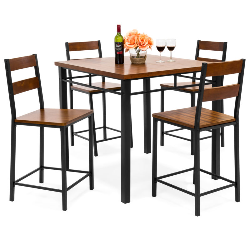 Wood Finish Counter Height Table Dining Set w/ 4 Chairs, Metal Frame