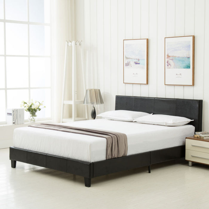Queen Size Faux Leather Platform Bed Frame & Slats Upholstered Headboard Bedroom