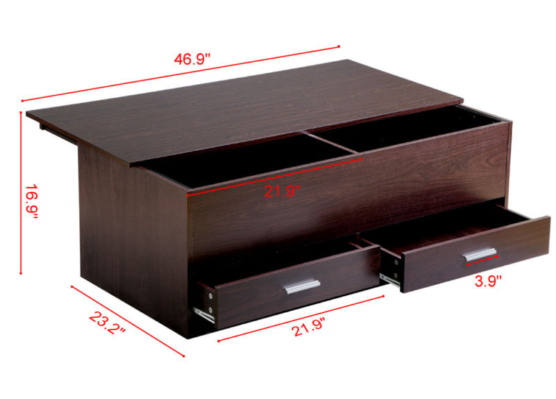 Coffee End Table with Sliding Top and Storage Drawers - Espresso - Toyzor.com