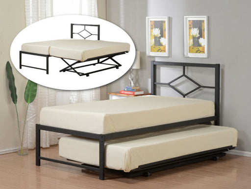 Twin Size Metal HiRise Day Bed Frame With Headboard & Pop Up Trundle