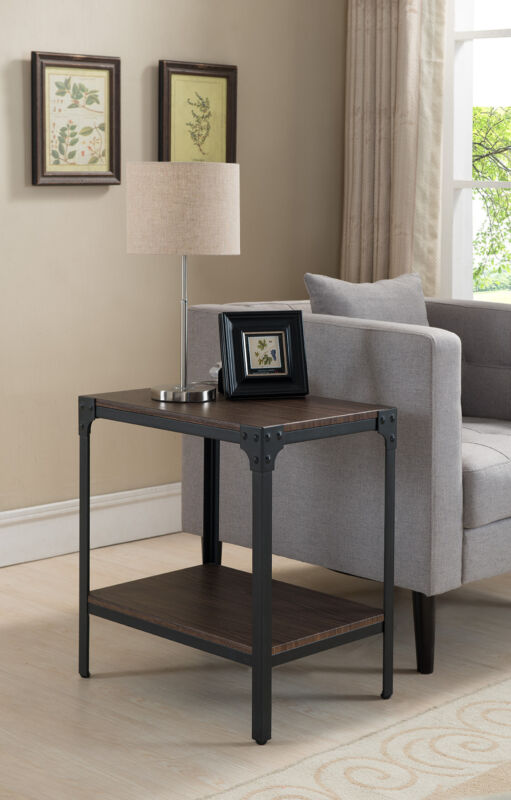 Black/Walnut Antique Finish Side End Table