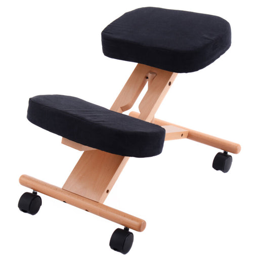 Ergonomic Kneeling Chair Wooden Adjustable Mobile Padded Seat