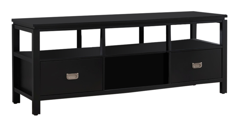 "54"" Black Finish Wood TV Stand Entertainment Center with Storage"