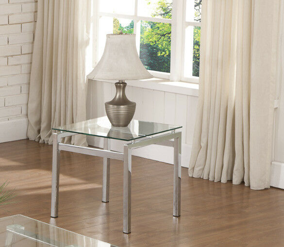 Modern Design Chrome Finish With Glass Top End Table