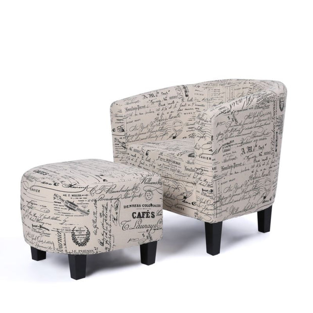 Curved Back & French Print with Ottoman Modern Armrest Accent Chair