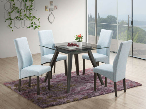 5 Piece Blue Square Dining Set. Table & 4 Chairs