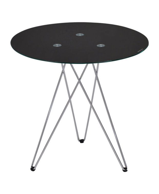 Black Tempered Glass with Chrome Legs Round Side End Table