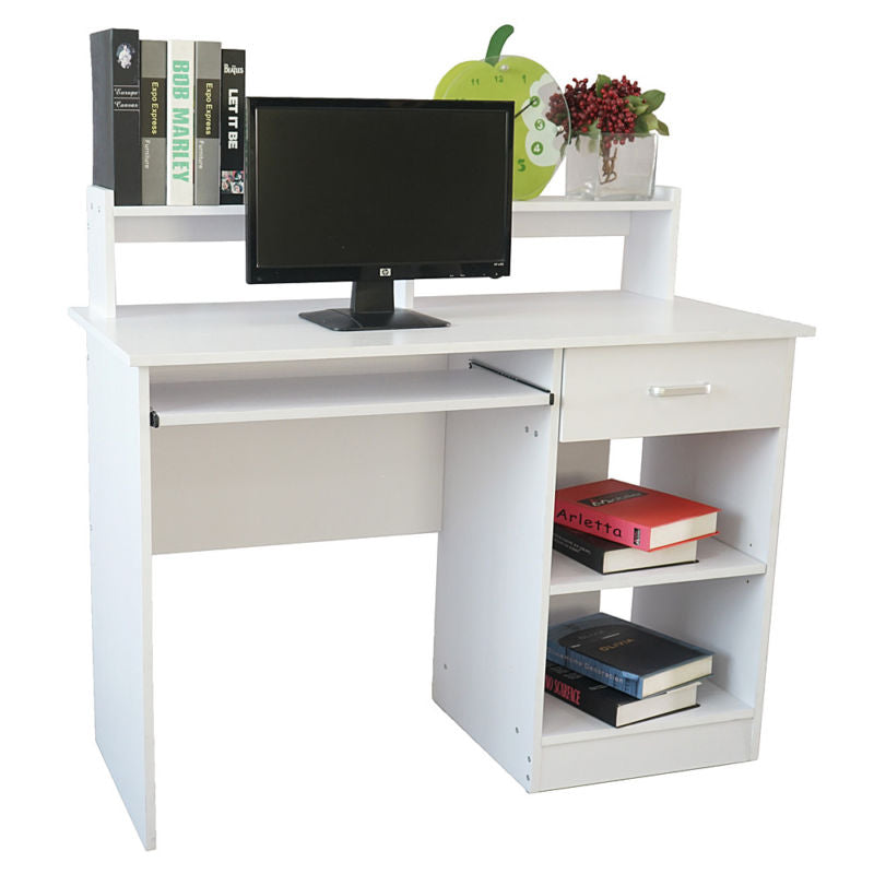 Wood Home/Office Computer Desk with Drawers and Book Shelf