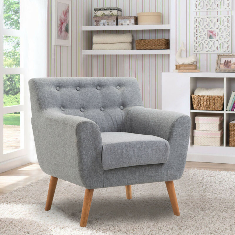 Arm Chair Tufted Back Fabric Upholstered Accent Chair