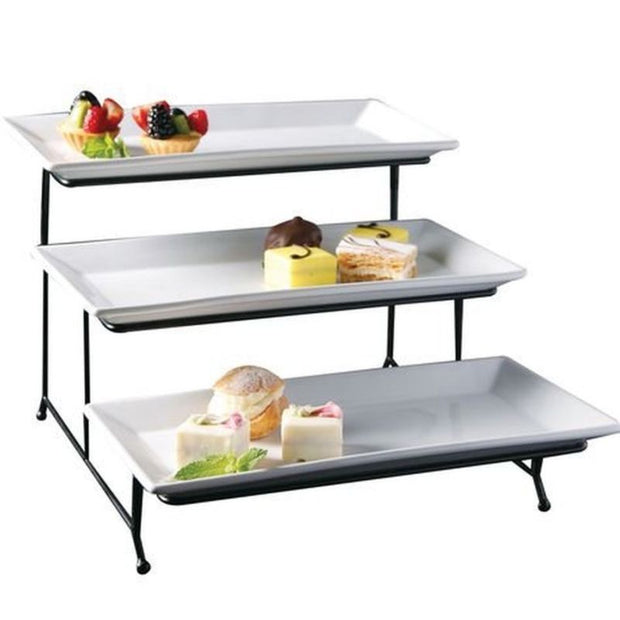 Porcelain 3 Tier Serving Tray - Toyzor.com