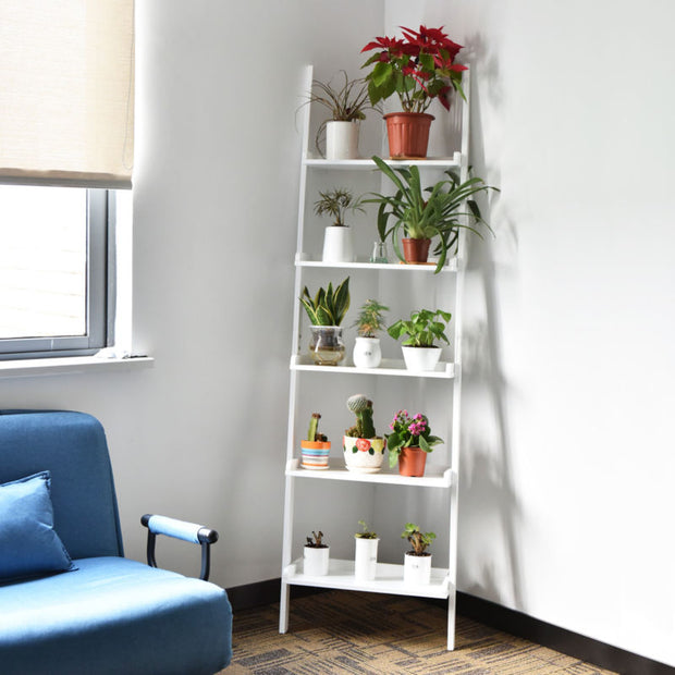5-Tier Leaning Wall Shelf - White - Toyzor.com
