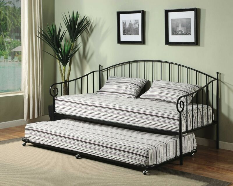 Black Metal Twin Size Daybed Frame with Pop Up Trundle & Mattresses