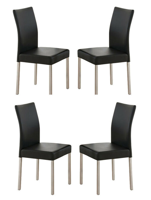 Black Finish Wood Wave Design Dining Room Kitchen Table & 4 Chairs