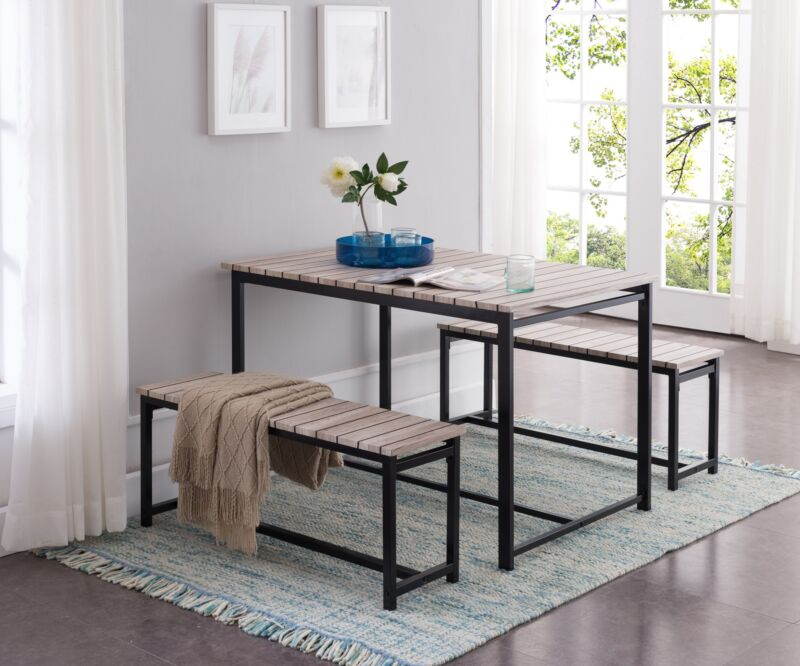 3 Piece Dining Set, Table With 2 Benches, Black / Brown