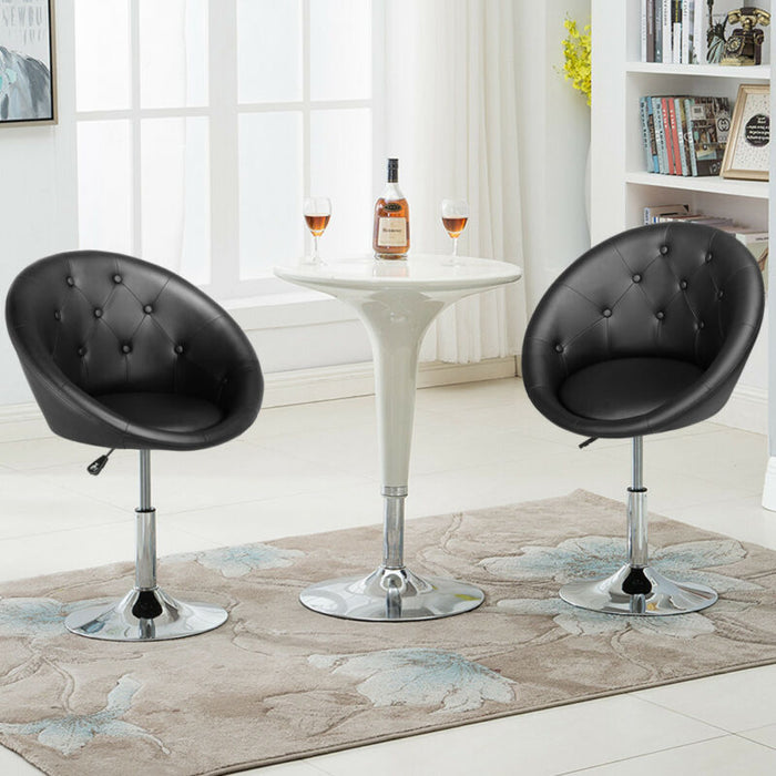 Fabulous Adjustable Modern Round Tufted Back Accent Salon Vanity Chair Pub Counter Stools Cjindustries Chair Design For Home Cjindustriesco
