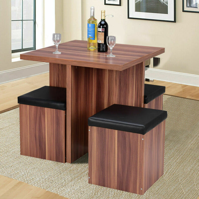 5 Piece Wood Dining Table Set Kitchen Dinette Table Set Storage Ottoman Stool