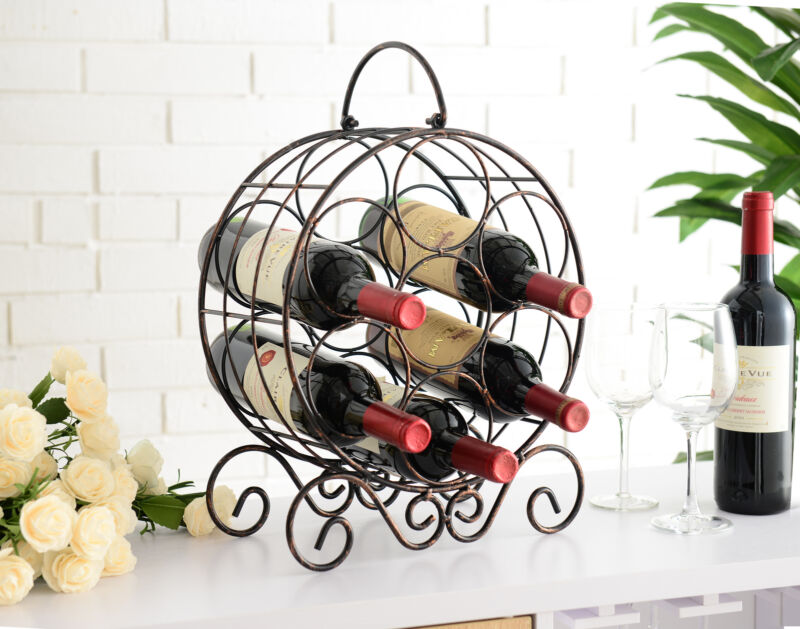 Brushed Copper Metal Wine Rack Storage Organizer Display Stand