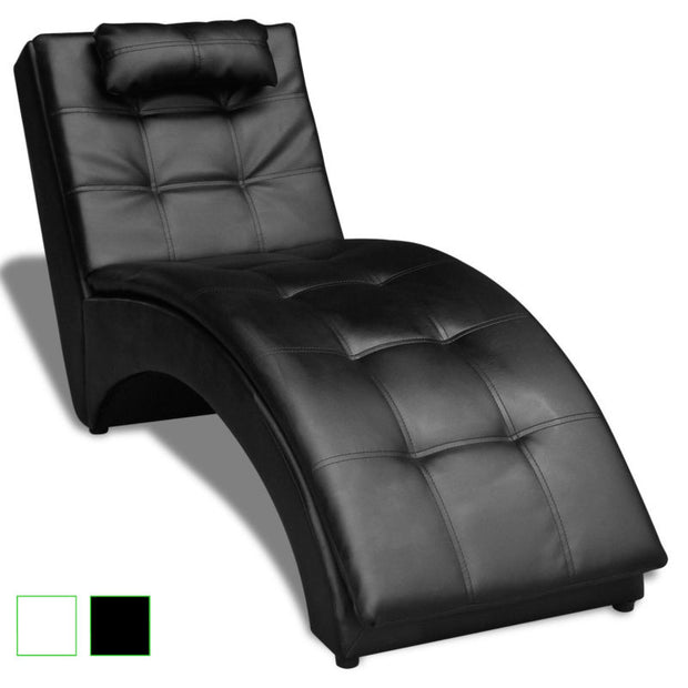 Black/White Modern Tufted Chaise Lounge Sofa Indoor Chair