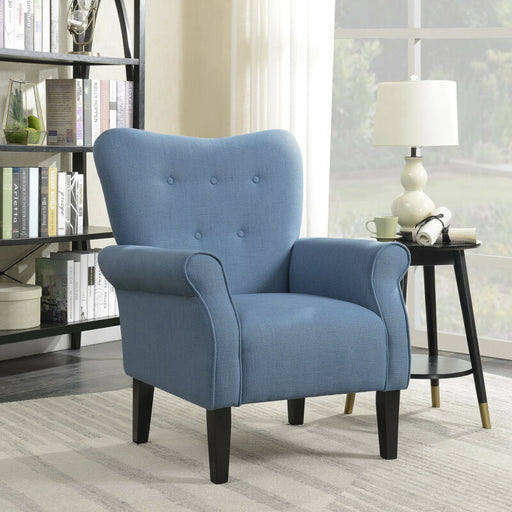 Elegant Blue Button Back Armchair Upholstered Accent Linen