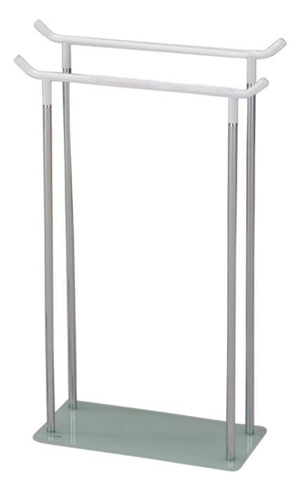 White Metal & Tempered Glass Free Standing Towel Rack Stand
